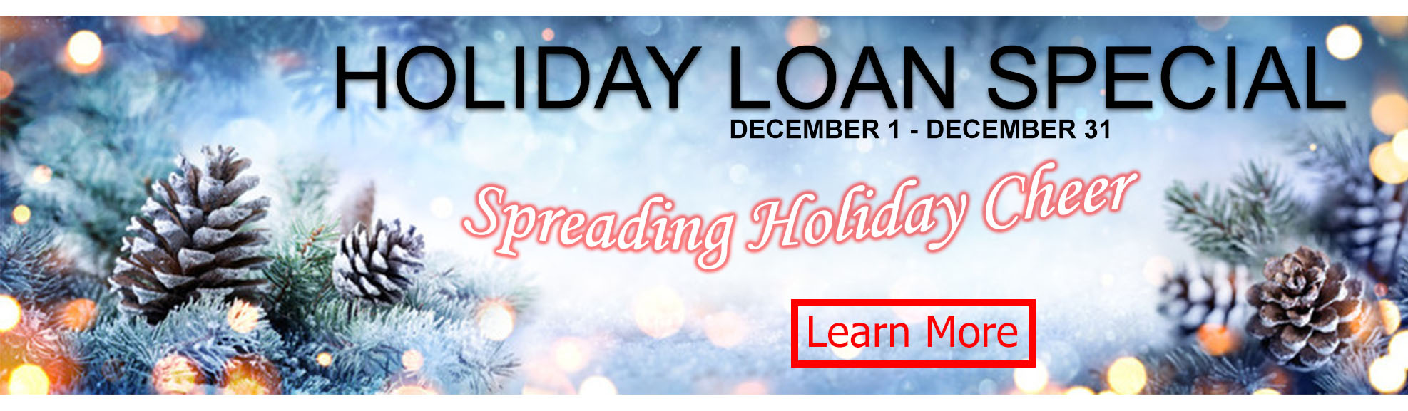 holiday loan special. december 1-31, 2019. Learn More.